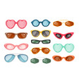 set of sunglasses summer accessories for eye vector image