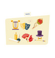 set of theatrical performance icons equipment vector image