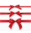 set red bow and ribbon on white background vector image vector image