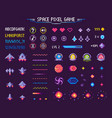 space pixel game icons font and cosmic characters vector image