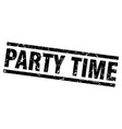 square grunge black party time stamp vector image vector image