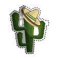 sticker cactus with mexican hat with thorns vector image vector image