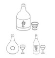 types of alcohol outline icons in set collection vector image vector image