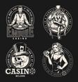 vintage monochrome casino emblems vector image vector image