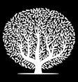 white tree with leaves on black background vector image