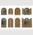 wooden window and doors with shutters vector image