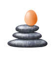 zen spa stones stack with fragile egg on its top vector image