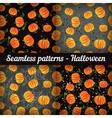Halloween Pumpkins Set of seamless patterns vector image