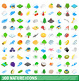 100 nature icons set isometric 3d style vector image