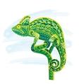 Hand drawn colored doodle outline chameleon vector image