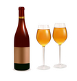 bottle and two glasses vector image