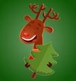 Cartoon cute christmas deer holding a christmas vector image