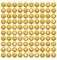 100 creative idea icons set gold vector image vector image