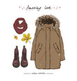 a set of autumn outfit with accessories brown vector image vector image