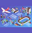 airport elements flowchart composition vector image vector image