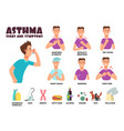 asthma and allergy symptoms and causes with vector image