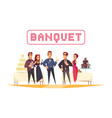 banquet white background cartoon vector image vector image