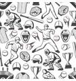 baseball sport players balls and bats pattern vector image