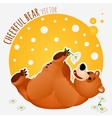 Carefree bear lies and plays with flower vector image