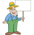cartoon farmer holding a sign vector image vector image