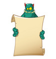 cartoon monster holding blank paper vector image