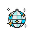 disco ball party light flat color line icon vector image vector image