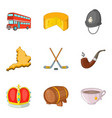 europe trip icons set cartoon style vector image vector image