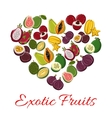 Exotic tropical fresh fruits heart poster vector image vector image
