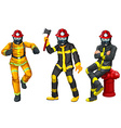 Fire fighters in uniform vector image vector image