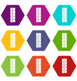 five steps infographic icon set color hexahedron vector image vector image