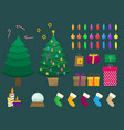 flat christmas and new year set vector image vector image