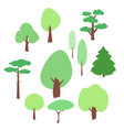 flat tree icons set on a white vector image vector image