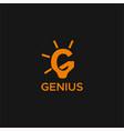 genius lamp g logo vector image