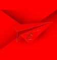 gold 2020 new year logo red paper cuting airplane vector image vector image