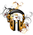 headphones with floral elements vector image