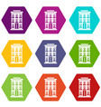 hotel building icon set color hexahedron vector image vector image