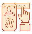 identification fingerprint on phone flat icon vector image vector image