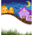 Jack o Lanterns near the house vector image vector image