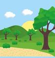 landscape tree sun sky path design vector image vector image