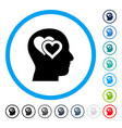 love in mind rounded icon vector image vector image