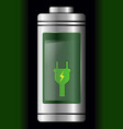 metal with glass battery green charge symbol vector image vector image