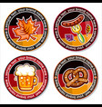 oktoberfest set of drink coasters for celebration vector image