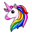 pixel unicorn head isolated vector image vector image