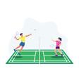 playing badminton vector image vector image