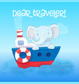 poster cute little elefant floats on a boat vector image