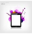 Realistic detalized flat tablet with abstract vector image