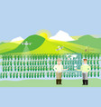 rice fielddisplay augmented reality information vector image vector image