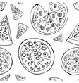 seamless pattern with hand drawn pizza slices vector image