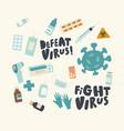 set icons fight with virus coronavirus cell vector image