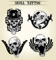 set skull tattoo vector image vector image